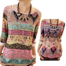 Lace Printing Three Quarter Puff Sleeves Round-neck Loose Tops Garment Summer Casual Wear For Women Ladies Blouses HB88(China (Mainland))