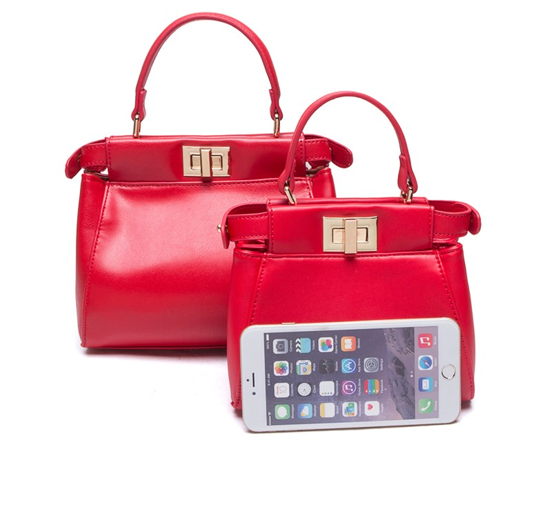 Lovely Ladylike Small Handbag Women Fashion Elegant PU Crossbody Bag Twist Lock Ladies Classy Designer Mini Shoulder Bag