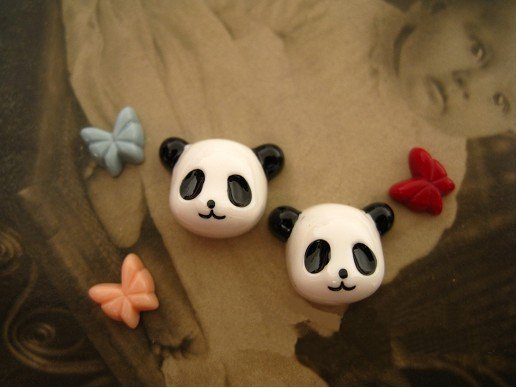 16mm resin cabochon bead Cameo PANDA DIY Handmade jewelry Pendants Accessory wholesale 100pcs/lot