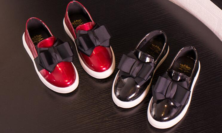 Best Selling Kids Boy Girl Leather Shoes Bow Fashion Casual Comfortable Black And Red 26-30 A841
