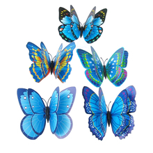 Butterfly Wall Stickers Double Layer 3D Butterflies colorful bedroom living room Home Fridage Decor 12pcs/lot 4 color DA(China (Mainland))