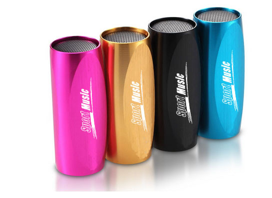 free shipping Car/Bicycle Portable Music MP3 Player Mini Speaker Sports Sound Box+FM- Aluminum can use TF card(China (Mainland))