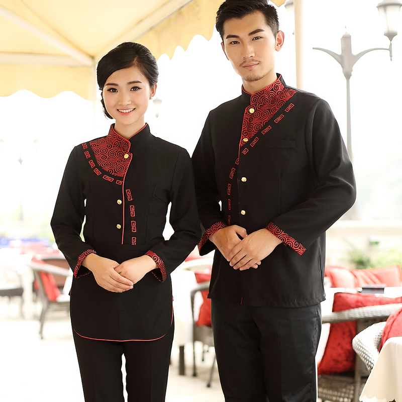 Hotel Uniform Chef Autumn and Winter Men and Women Restaurant Catering Waiter Uniform Clothing Long Sleeved Jacket only(China (Mainland))
