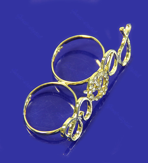 M89 10Pcs/Lot Hot Fashion Exquisite Two Fingers Golden Crystal Peace Sign Ring Free Shipping(China (Mainland))