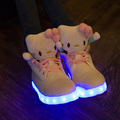 Hello Kitty Women Led Boots Shoes High Top Colorful Glowing Light Up Shoe For Woman Girl