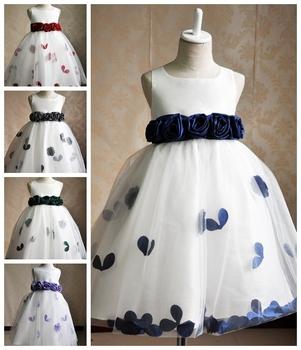 Реальные фото бальное платье атлас органза девочки платье цветок девочка платья для ...