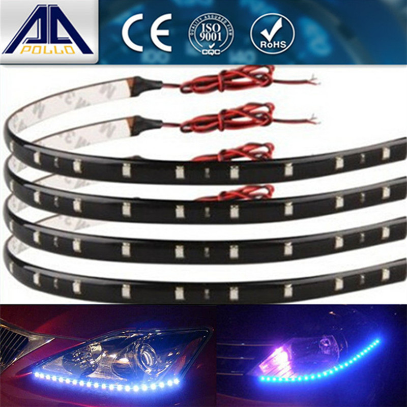 Super bright 3 color 4Pcs 30cm waterproof Light LED SMD Flexible Universal Car Styling LED Car Strips Free shipping(China (Mainland))