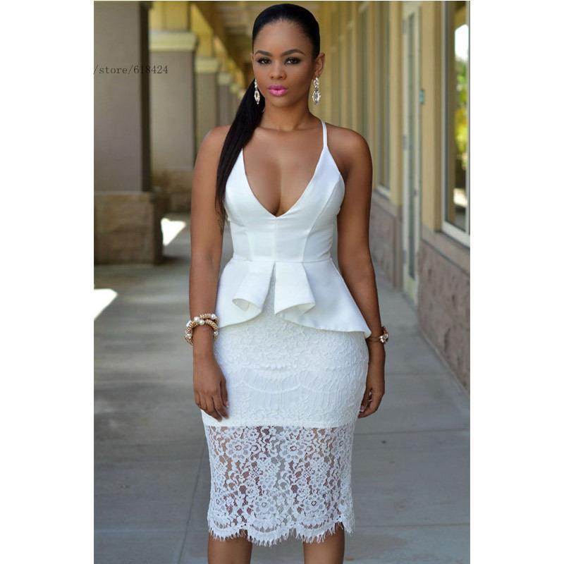 Plus Size White Lace Peplum Dresses Style Plus Dress