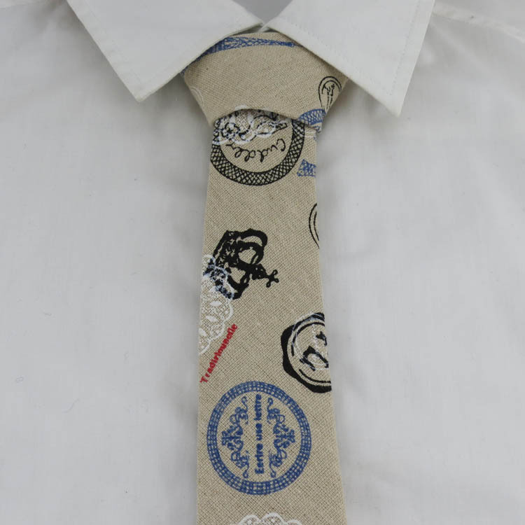 (1pcs/lot)The classic fashion and retro/such as pyramid and crown pattern/Linen fabric tie/6.5 cm wide arrow(China (Mainland))
