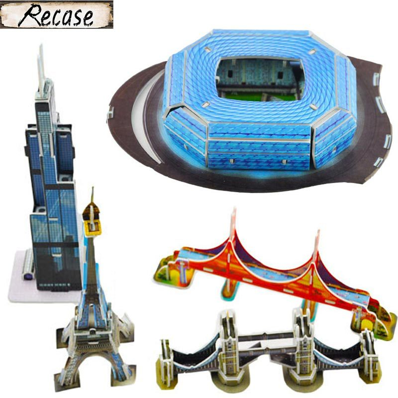 4Designs/pack DIY Football Stadium Tower Bridge Eiffel Tower High Building 3D Puzzles Educational Kids Toys Gifts BM-556A(China (Mainland))