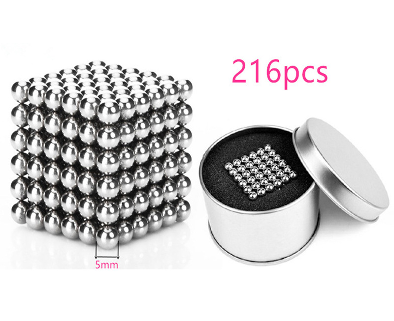 216pcs 5mm neodymium magnetic balls spheres beads magic cube magnets puzzle 6*6*6 birthday present for children free shipping(China (Mainland))