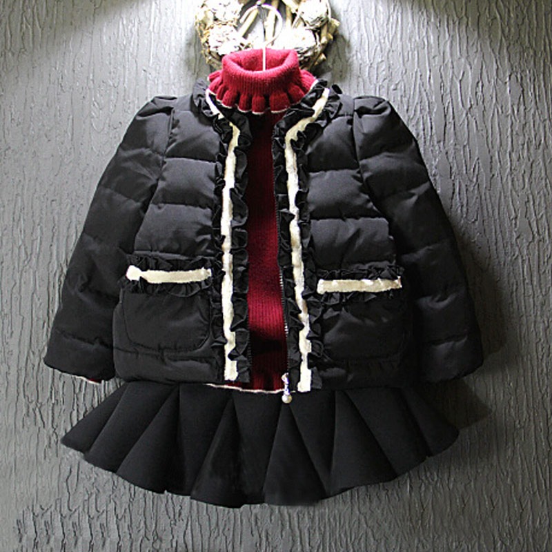 2015 New Arrival Fashion Cotton Zipper O-neck Regular Girls Solid Regular Jersey Down & Parkas