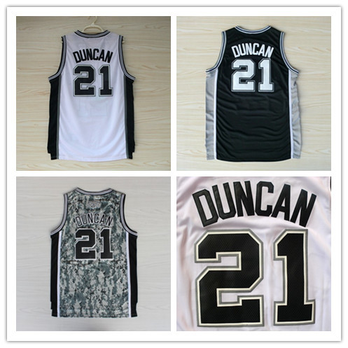 Wholesale San Antonio #21 Tim Duncan Basketball Jerseys In Black White Multi Colors High Quality Embroidery Logos Free Shipping!(China (Mainland))
