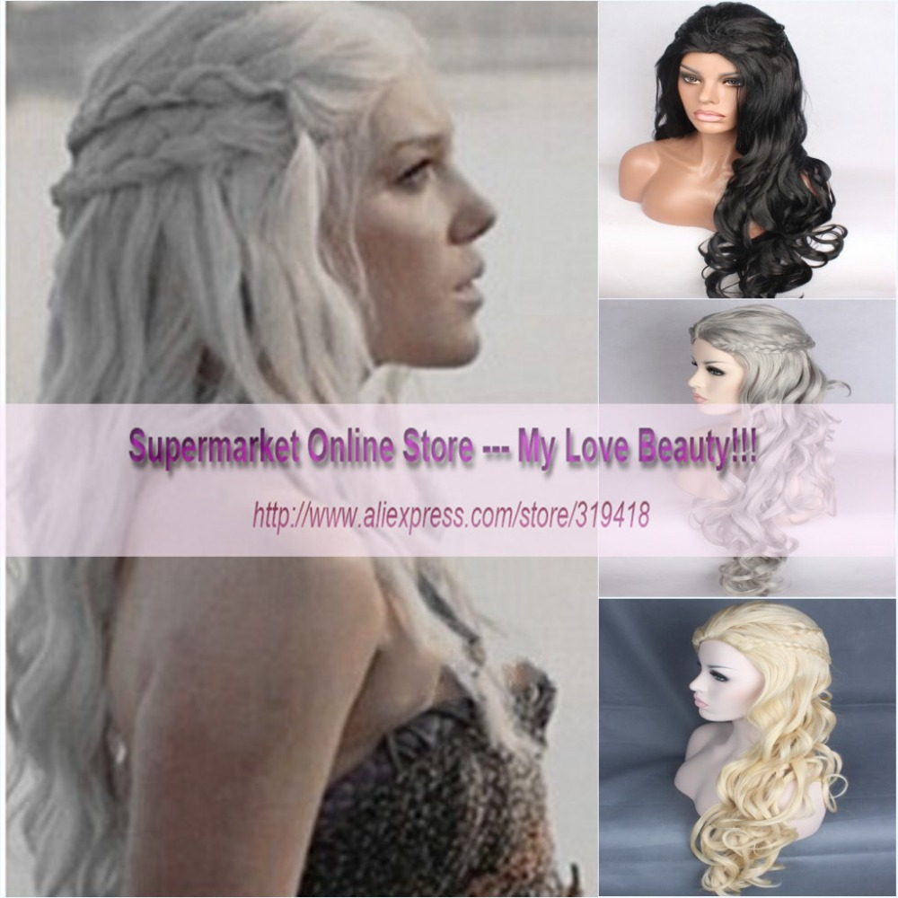 New Fashion Womens Cosplay Wig Inspired by Daenerys Targaryen Dragon Princess Game of Thrones Braids Costume Wigs Synthetic HOT<br><br>Aliexpress