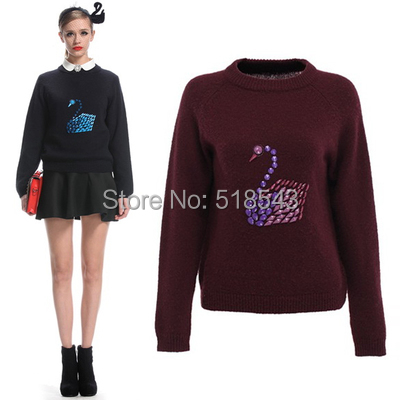 New 2014 Fashion formal wool blending diamond loose long-sleeve pullover sweater swan women sweater in stock free shipping(China (Mainland))