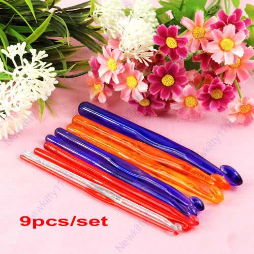 Set of 9 Sizes Multicolour Plastic Handled Crochet Hooks 9 Pcs Needles Weave Craft Free Shipping(China (Mainland))