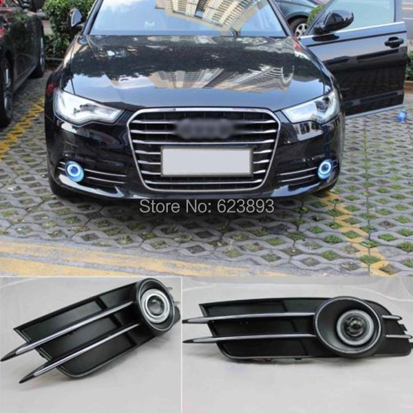 Car styling Fit Audi A6 A6L C7 2012-2014 LED Daytime Running Lights DRL Projector Lens Fog lights + Angel Eyes Kit(China (Mainland))