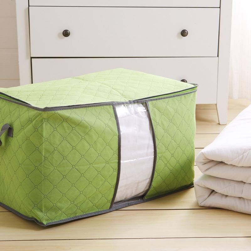 Bamboo Quilt Home Basics Fabric Storage Box Case Charcoal Clothes Blanket Folding Storage Organizer Box Bag Closet Foldable(China (Mainland))