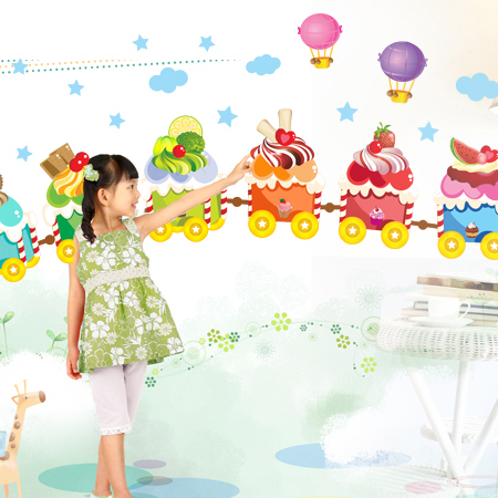 icecream train happy cute friends AM7003 Wall stickers decoration decor home decals fashion cute waterproof bedroom living sofa(China (Mainland))