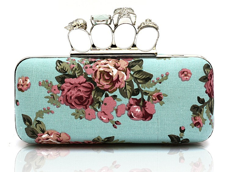 New Designer Ladies Skull Clutch Knuckle Handbag,Beatiful Flower Design Four Fingers Clutch bag with chains,Free Shipping GB209<br><br>Aliexpress