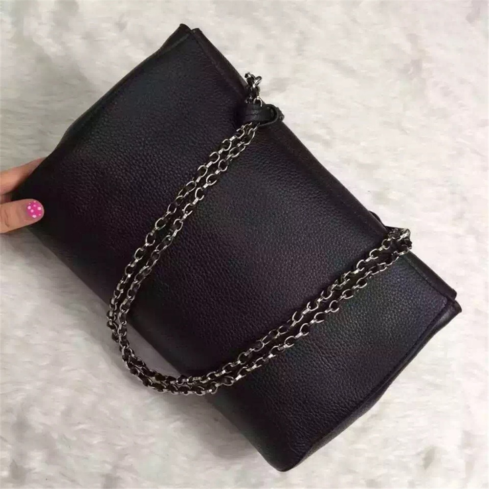 women brand genuine leather bag the best top quality bags female black handbag with chain free shipping(China (Mainland))