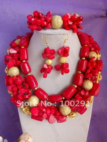 New Deisgn Double Drum One Flower Bead Middle Three Strand African Wedding Natural Coral Jewelry Set(China (Mainland))