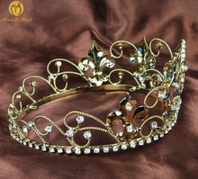 """Small Children Tiara Kids Crown 2.5"""" Queen Style Gold Tone Headband Clear Austrian Rhinestone Pageant Birthday Party Costumes(China (Mainland))"""