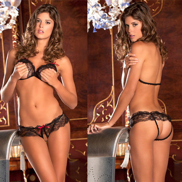2015 hot sale Sexy lingerie black lace temptation perspective three point bikini women lingerie set micro bikini ST103(China (Mainland))