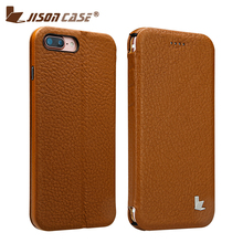 Jisoncase Genuine Leather for iPhone 7 7 Plus Phone Cases Magnetic Real Leather Flip Cover Cases with Stand for iPhone 7 Series(China (Mainland))