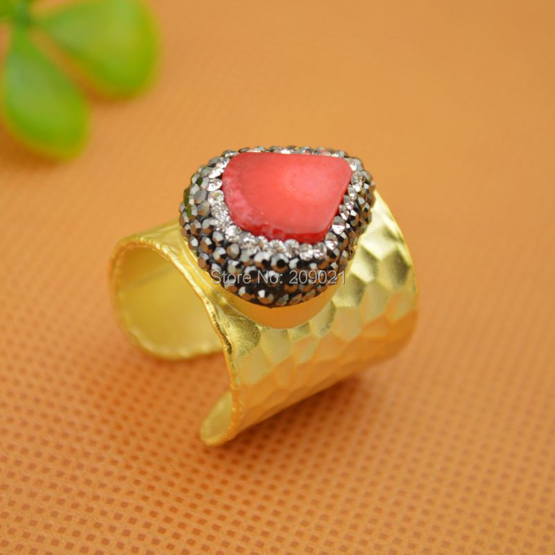 beautiful ~ 5pcs Gold Plated Rhinestone Crystal Charms Rings , Druzy Coral Ring Jewelry Finding