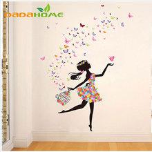 Винил Бабочка Фея Танца Гостиной Стены Спальни Украшения, Стеклянные Украшения Дома Wall art стикер(China (Mainland))