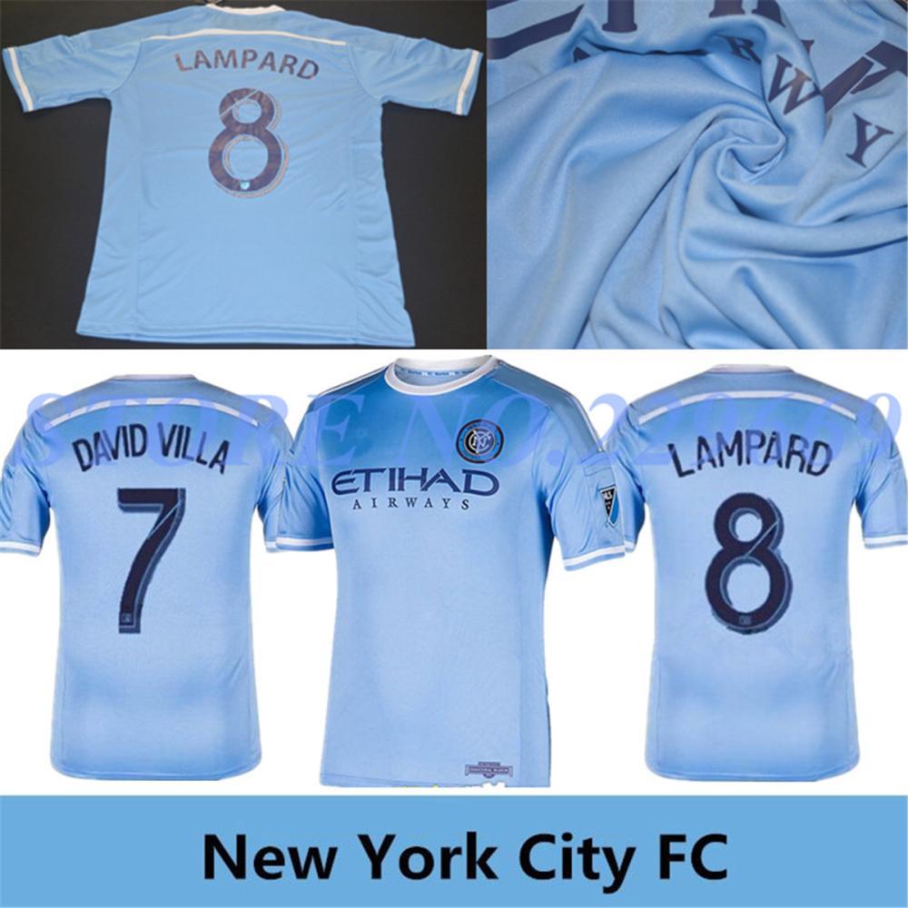 2015 Season New York City FC Soccer Jersey DAVID VILLA Home Sky Blue New York City Football Shirt LAMPARD NYCFC Free Shipping(China (Mainland))