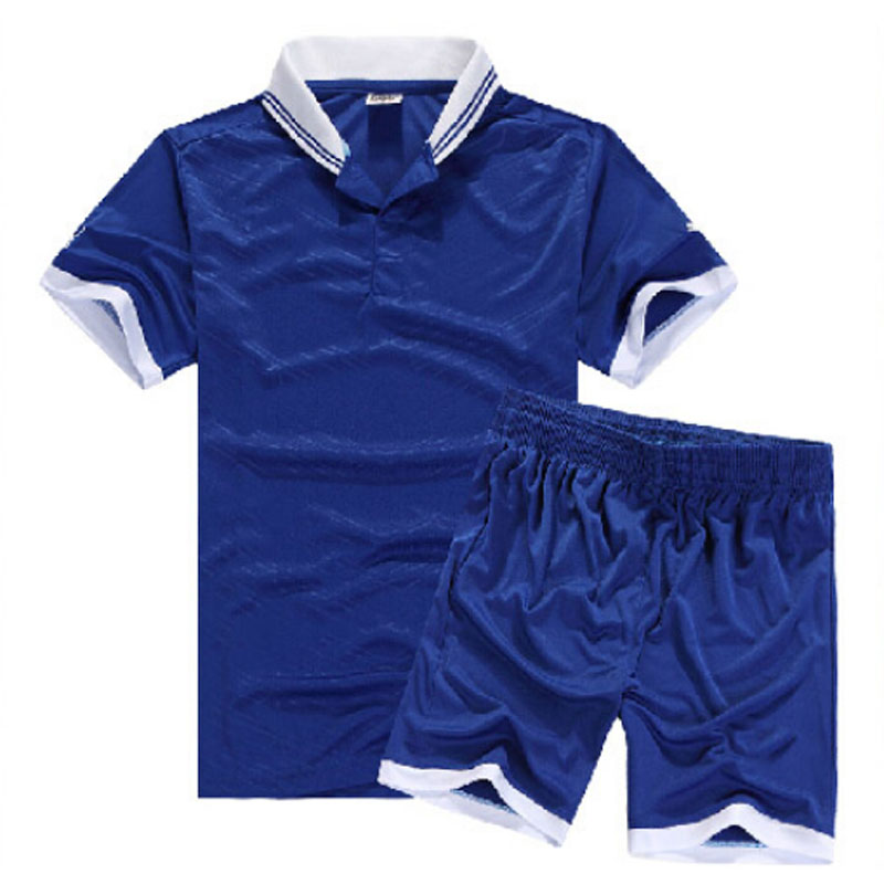 2016 new Collared Summer Sports Football Soccer Jerseys + Pants Suit Set Men Short Sleeve Blank Uniforms Collared Football Suit(China (Mainland))