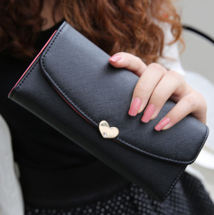 New Arrival PU Leather Women Wallet 10 Colors Cute Diamond 3 Folds Wallets Long Design Ladies Clutches Coin Purse Card Holder(China (Mainland))