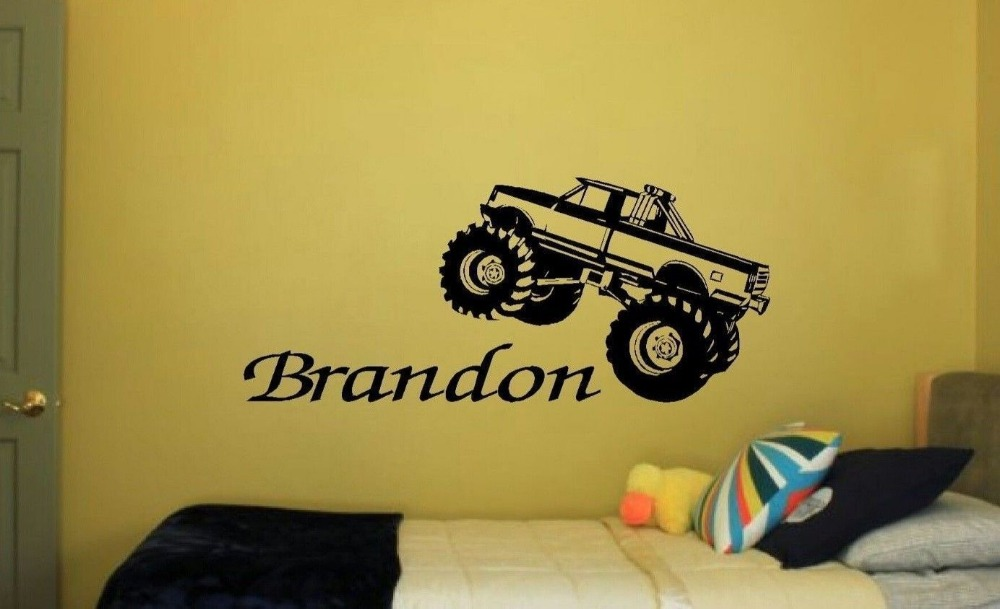 Personalized Bedroom Wall Decor : Monster truck personalized bedroom nursery kids wall art
