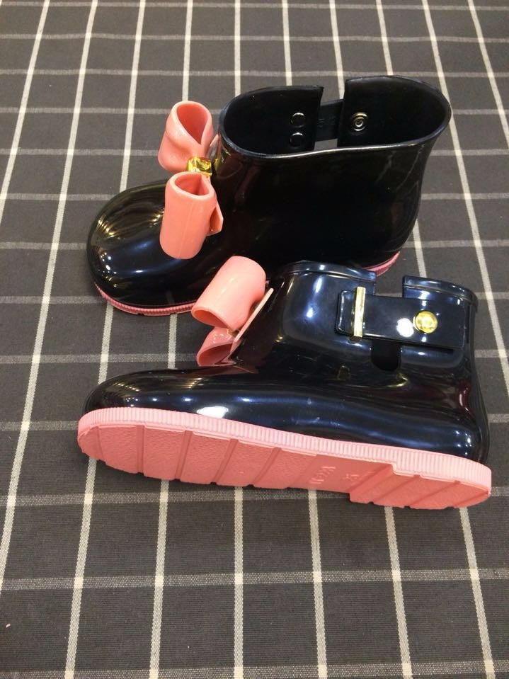 Children Shoes Rain Boots Mini Melissa Girls Shoes Bow Jelly Water Shoes Flat Short New Shoes Kids Three Colors Boots G090