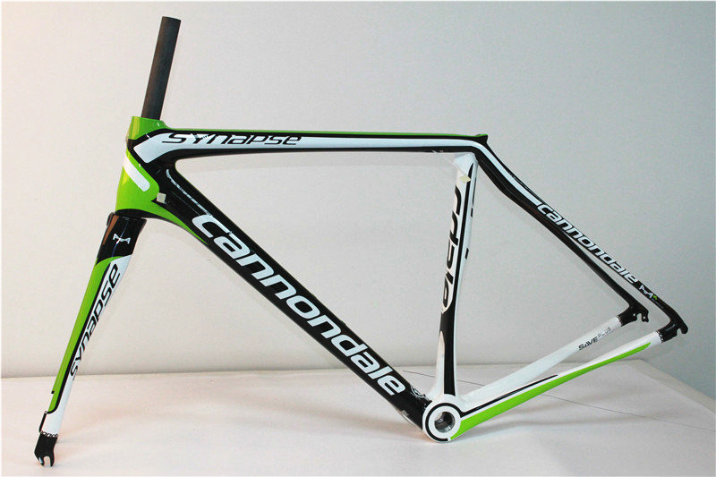 Light bicycle carbon frame synapse carbon frame road 2015 China carbon bike frame green white logo fit BB68 or BB30 carbon frame(China (Mainland))