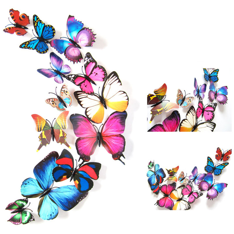 2016 Removable 3D DIY Magnet Butterfly Vinly Wall Stickers for Kids Rooms Refrigerator Art Wall Decal Home Decor Adesivo Poster(China (Mainland))