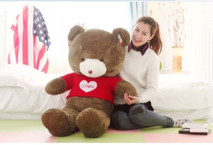 "huge lovely teddy bear doll cute red sweater chocolate with ""love "" the biggest bear toy birthday gift about 160cm(China (Mainland))"
