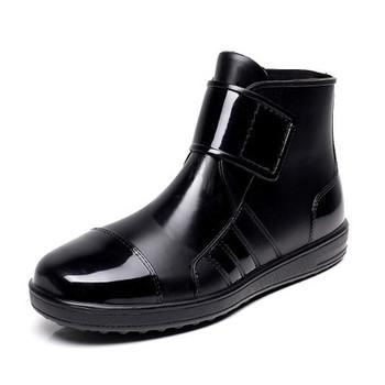 Pvc waterproof rain boots waterproof flat with shoes woman men rain woman water rubber ankle boots buckle botas 24.5-27cm foot