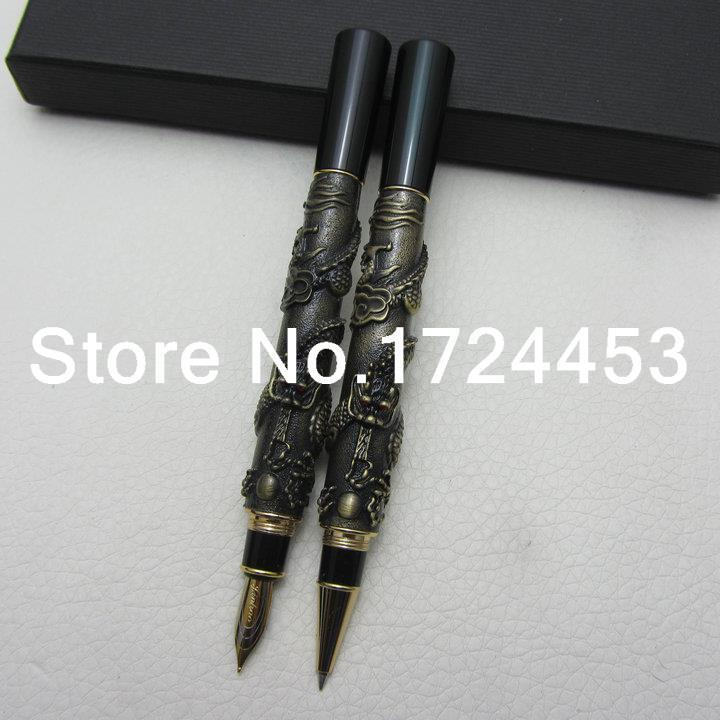 Jinhao Chinese Dragon antique bronze Heavy Advanced Fountain Pen and rollerball pen with gift box J1061