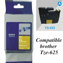 9mm*8m white on yellow Tze-625 compatible brother label tape P-touch  printer label tape Printer Ribbons Printer Supplies