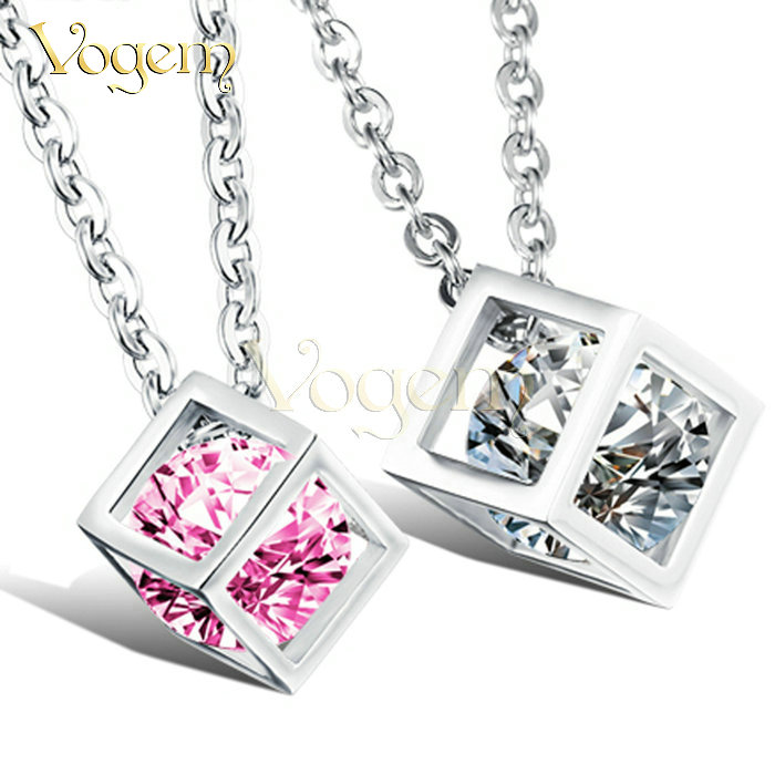 Rubik Cube Lovers Necklace & Pendant Crystal Cear 18K Silver Plated colar longo com pingente Necklaces TYGN950(China (Mainland))