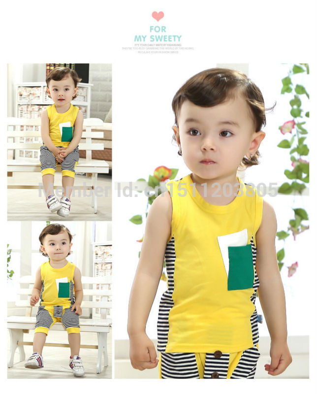 Korean version new 2014 summer striped short-sleeved baby child models Boys pants suit - YUYU SHOW store