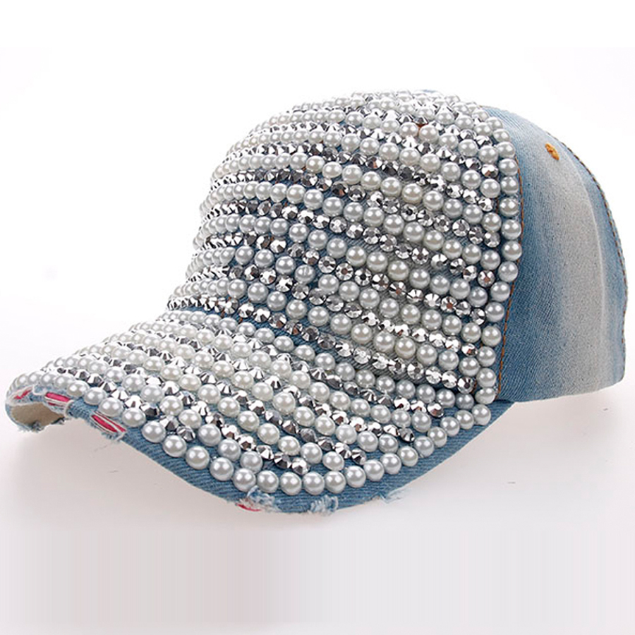 Top Quality 100% Manual Drill + Pearl Decorated Women's Caps Fashion Spring Summer Autumn Denim Baseball Caps Girls Hats SY569(China (Mainland))
