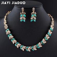 Jiayijiaduo חדש למסיבת מקסים נשים שמלות היכרויות אביזרי ירוק זכוכית קריסטל שרשרת עגילי סטים(China)