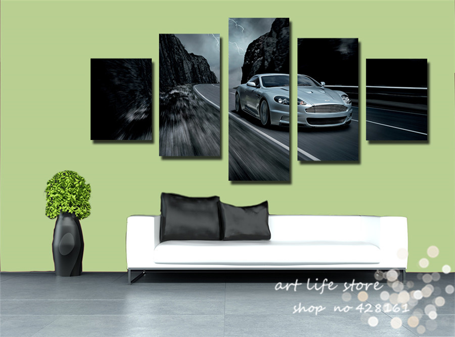Abstract Images HD Prints 5 Pieces A Set Cuadros Running Car Like Wind Art Pictures Canvas Picture For Living Room Home Decor(China (Mainland))