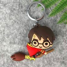 Harri Potter 3D PVC Keychain Brinquedo Maquineta Malfoy Hermione Granger Ron Weasley Snape Action Figure Brinquedos Festa Cosplay PVC Chave anel(China)