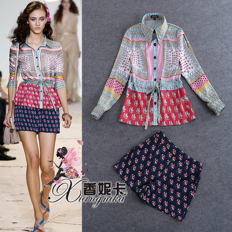 Europe and the new spring and summer 2016 fashion retro floral waist long sleeved shirt + suit fashion printed shorts