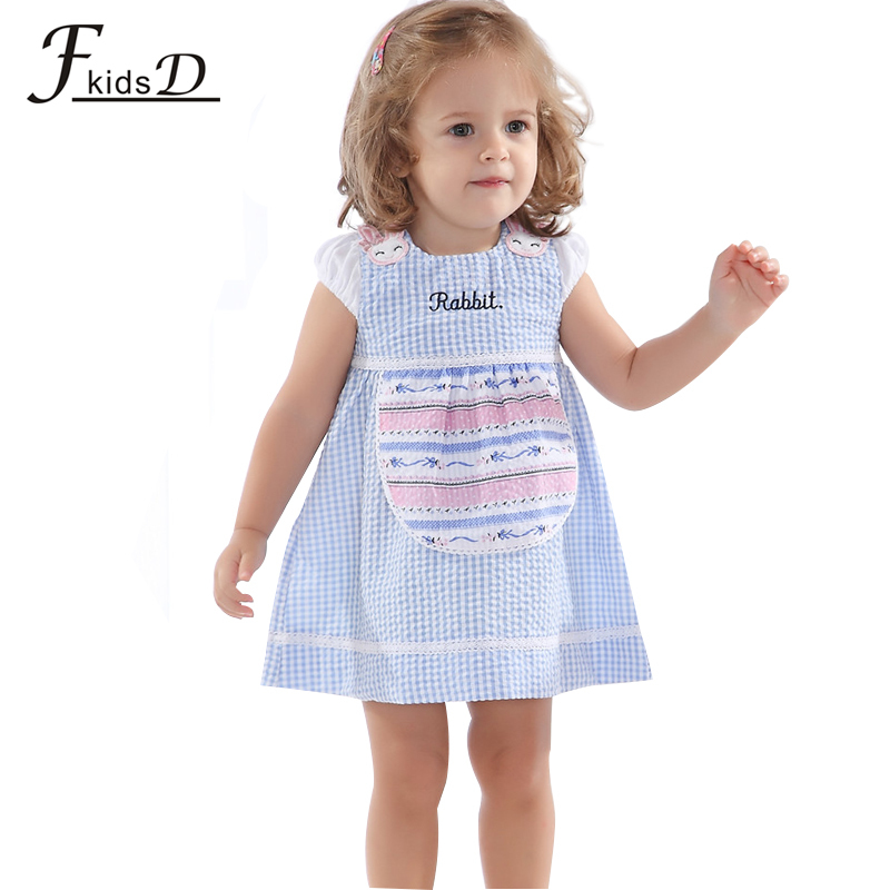2015 F-kids 100% organic cotton baby plaid girl dress.kids girls clothes.Casual summer dress for baby hot sale free shipping(China (Mainland))